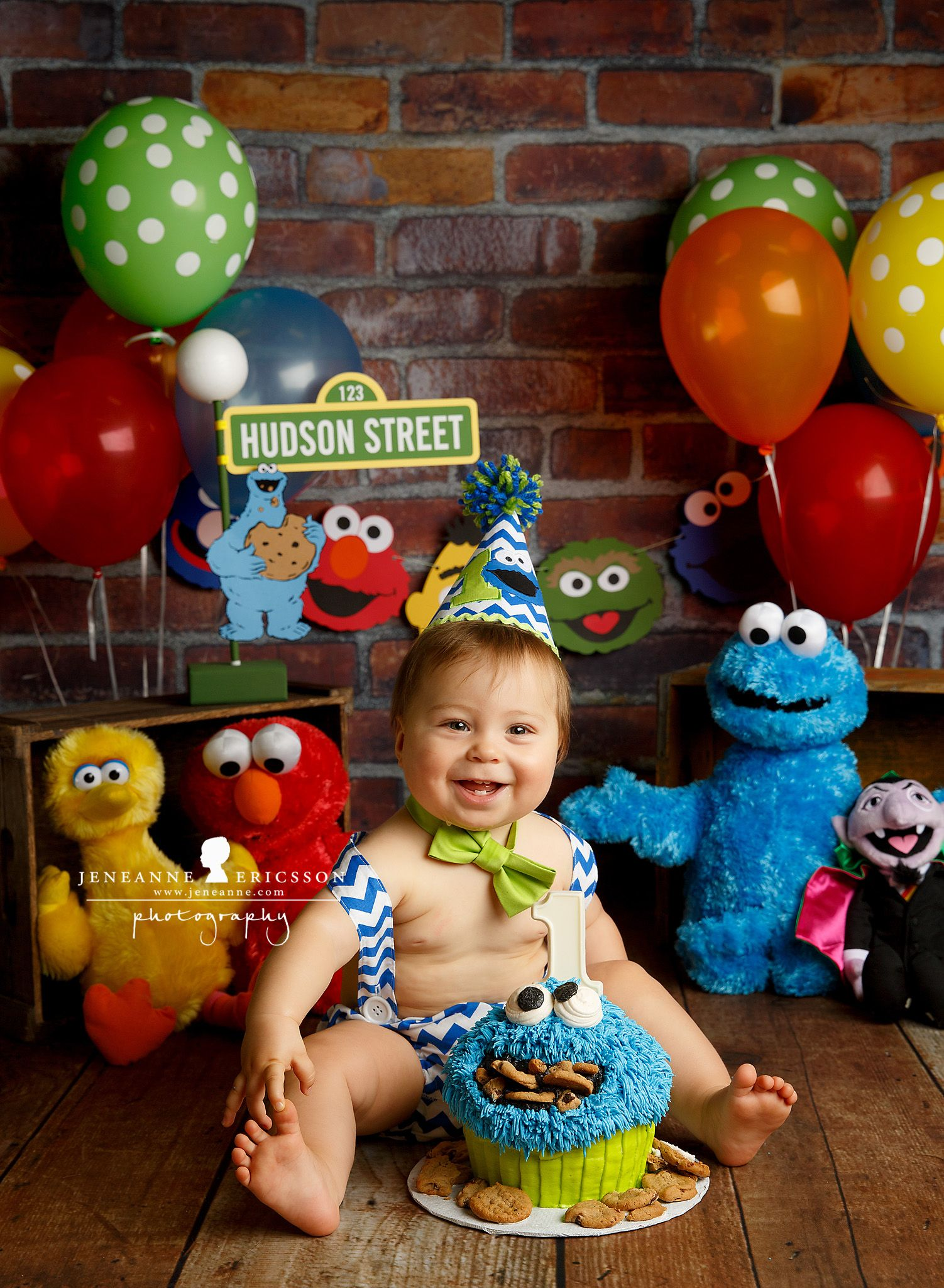 Sesame Street themed cake smash Cookie monster birthday