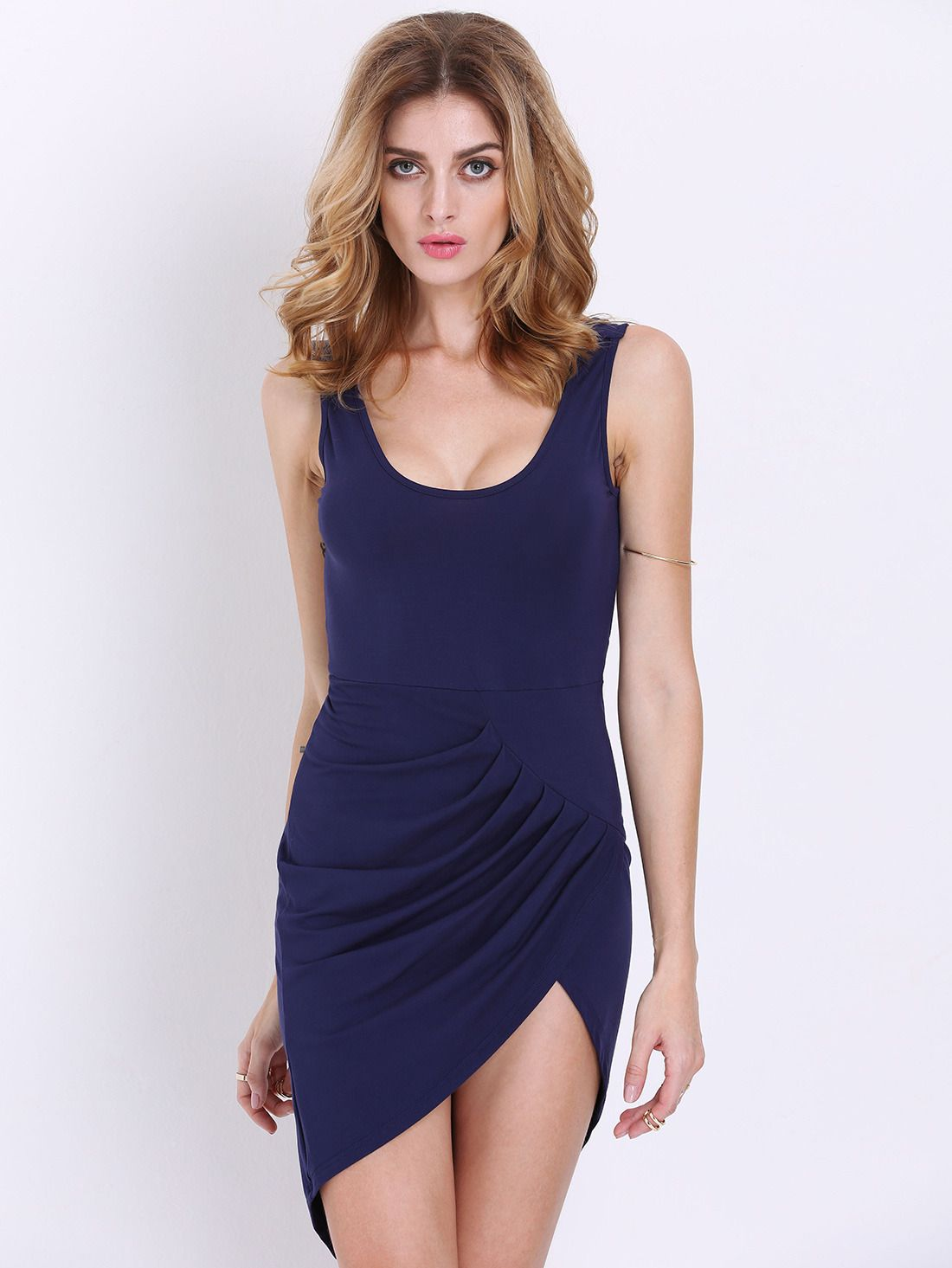 Navy sleeveless backless asymmetric dress dresses pinterest