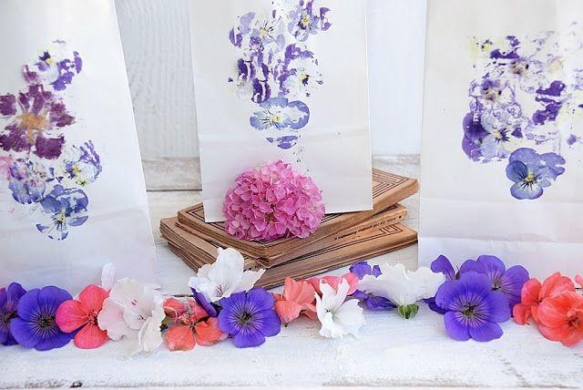 Deko, Wohn- und DIY Blog - White and Vintage: DIY-Windlichter aus Papiertüten mit Blumendruck