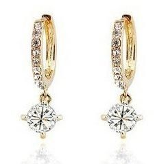 Laskey Swarovski Elements Sparkling Ladies Gold Loop Earrings made with Austrian Crystal For Women
