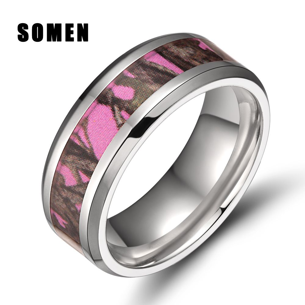 8mm Men S Anium Ring Pink Real Tree Camo Camouflage Engagement Rings Beveled Edges Women Wedding Band Fashion Jewelry Bijoux Affiliate