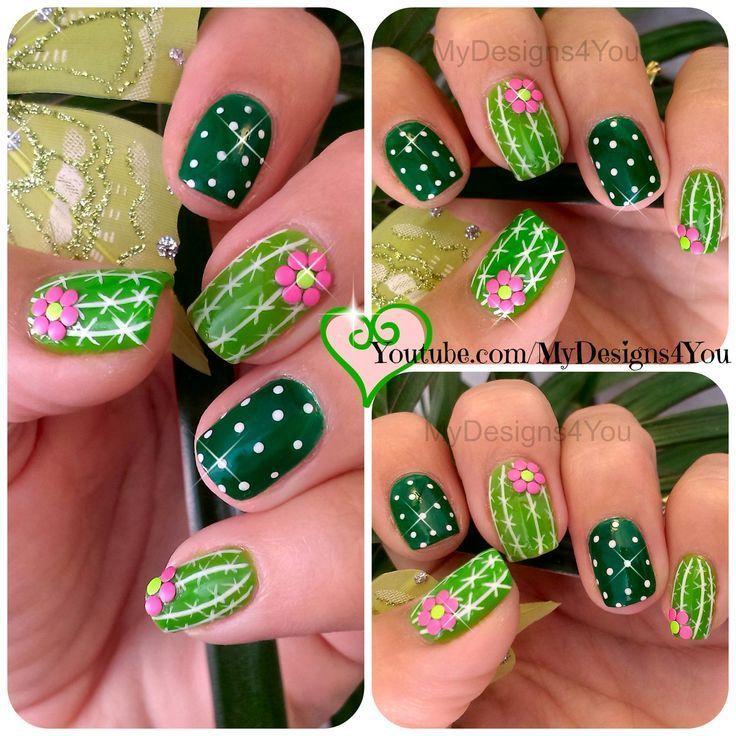 """Photo of vakker Fun Cactus Nail Art. Sommer negler, grønne negler, medianet_width = """"600 …"""