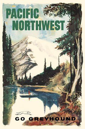 Vintage Art Deco Giclee Poster Print PACIFIC NORTHWEST TRAVEL