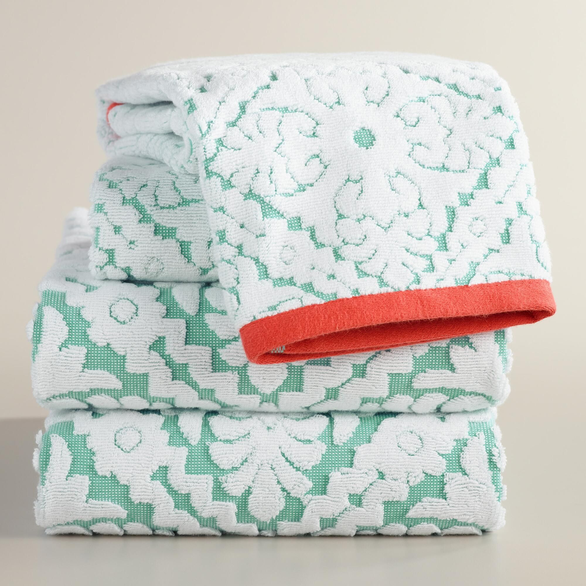 Aqua And Coral Barcelona Tile Sculpted Towel Collection Cotton - Coral bath towels for small bathroom ideas