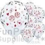 Cards & Dice Printed Latex Balloons – 11″ (Pk 25)