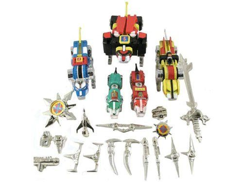 1997 Trendmasters Die-Cast Voltron Defenders of the Universe Lionbots Robots by Trendmasters. $139.99. The Die-Cast Voltron Gift Set (1997) includes all five Robot Lions, each of which are transformable, individually articulated components with action features such as lunging heads and articulated jaws; the Voltron robot is an articulated robot featuring flip-open robot face and pull-out deflector wings, and is equipped with both the Blazing Sword and Cross Be...