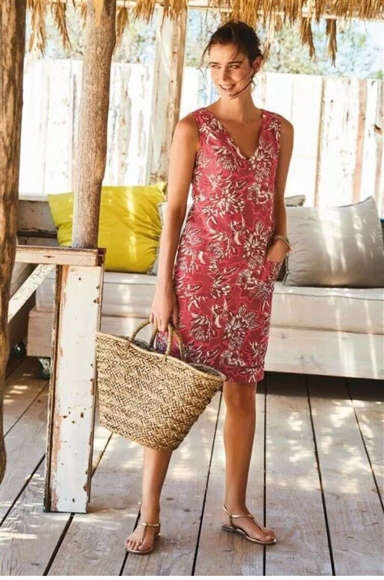 Next Ladies Coral Red Floral Linen Blend Summer Dress Size 14 Tall Long Floral Dress Summer Summer Dresses Sleeveless Linen Dress [ 1132 x 750 Pixel ]