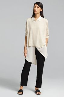 EILEEN FISHER Spring Icons Collection: Collared Silk Tunic + Box Top + Drawstring Ankle Pant