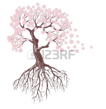 Spring Tree With Pink Blossoms Tree Drawing Roots Drawing Flower Drawing