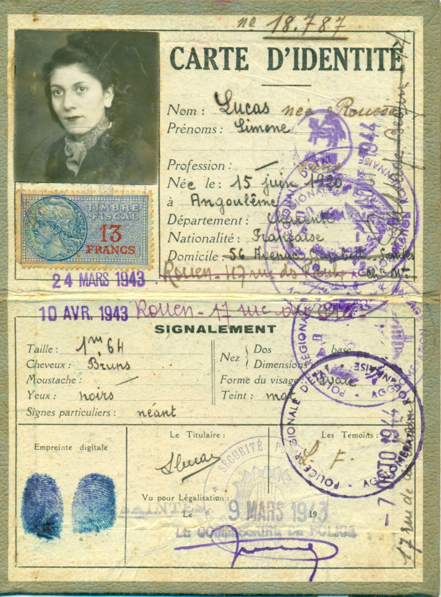 Carte Identite 2eme Guerre Mondiale French Ephemera Vintage