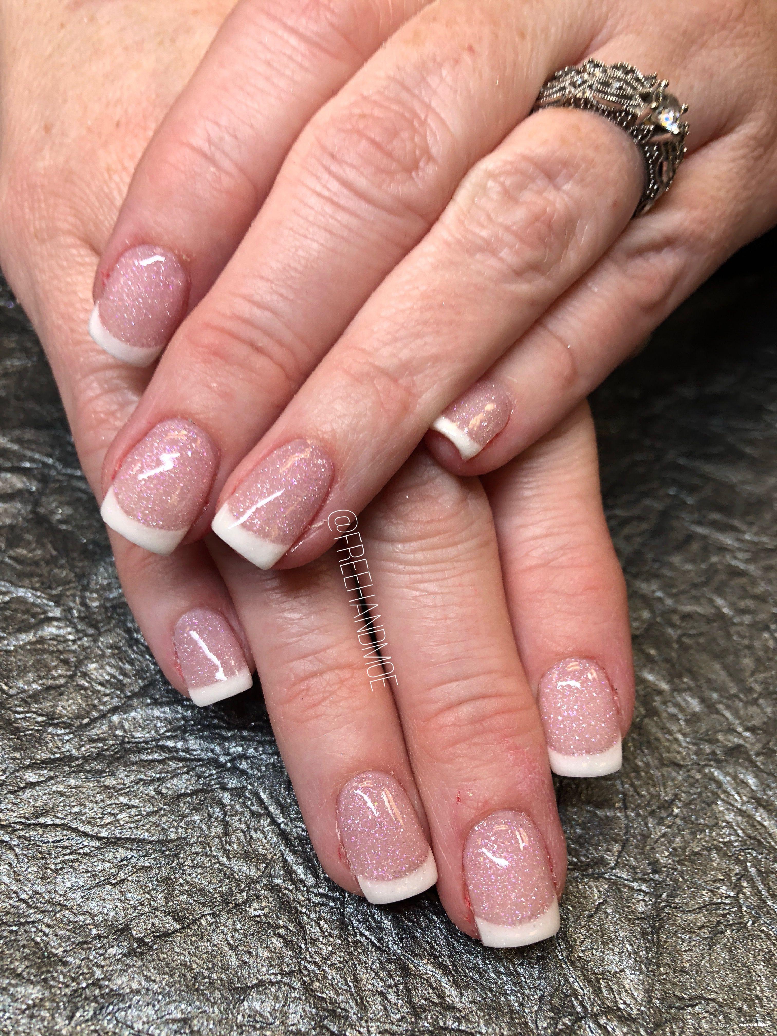 Glitter French Dip Powder Nails | Dip powder nails, Powder ...
