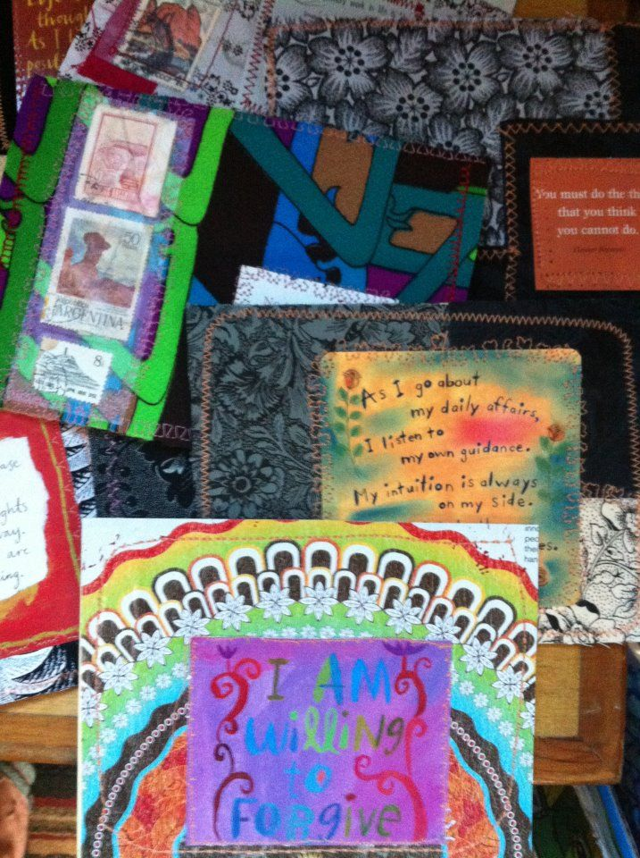 repurposed cards and upcycled fabric make for OOAK art cards, worthy of framing.