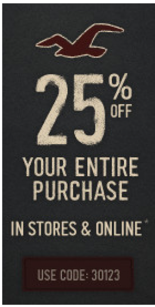 Hollister Coupons 25 Off Printable Coupons Pinterest Coupons