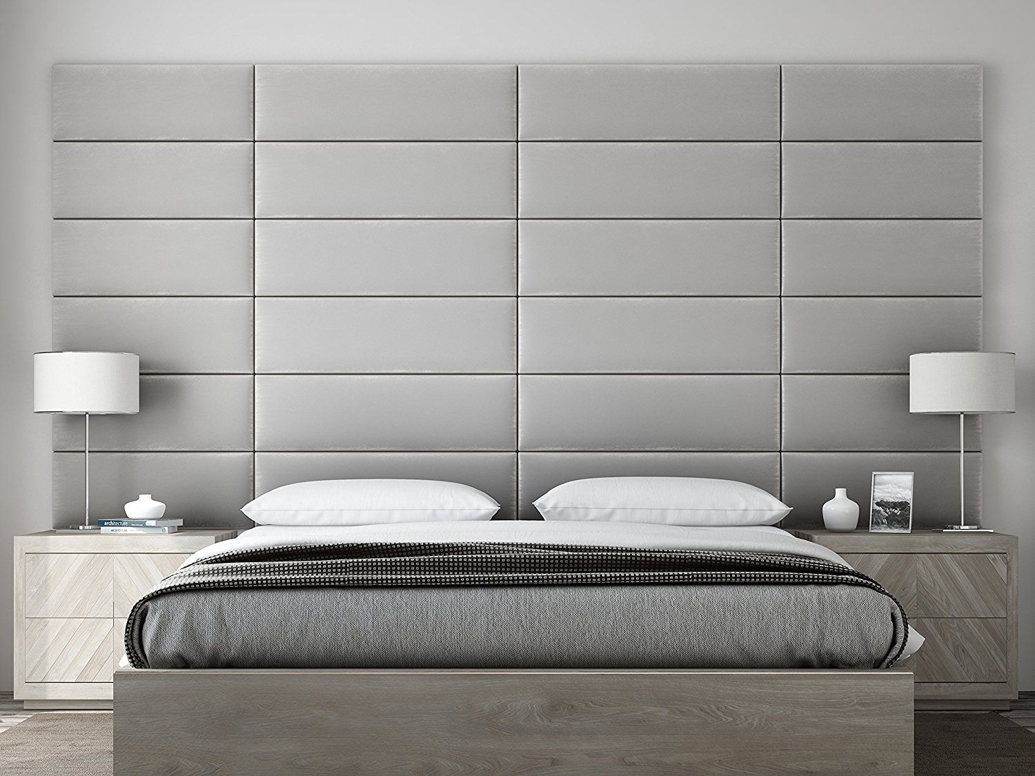 Amazon Com Vant Upholstered Headboards Accent Wall Panels Packs Of 4 Textured Cotton Weave Ash Gray Upholstered Wall Panels Upholstered Walls Headboard