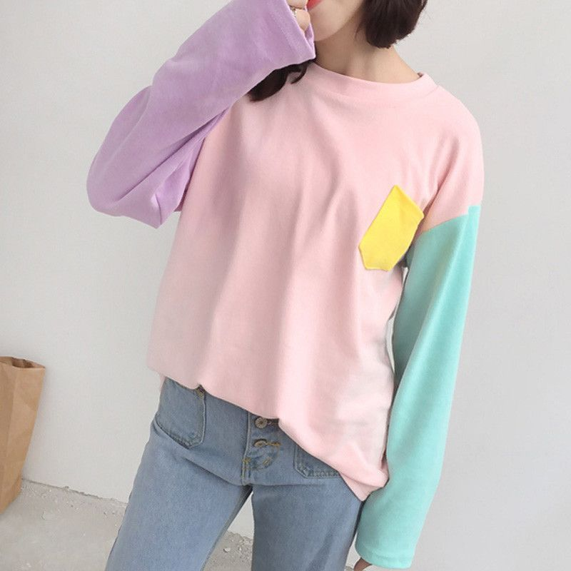 a7c3b98c10 Korean Patchwork Mixed Color Loose Casual Thin Sweater Pastel Colors