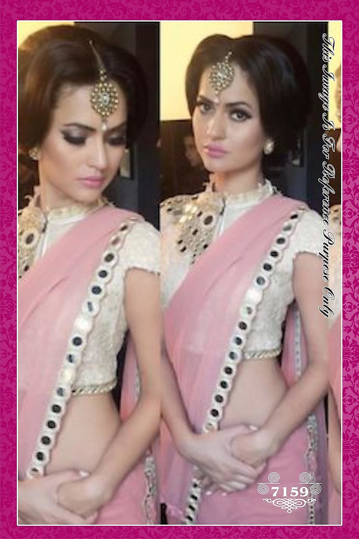 84afe63206 Buy Pink Georgette Saree With Mirror Work On The Border And Neck online. ✯  100% authentic products, ✯ Hand curated, ✯ Timely delivery, ✯ Craftsvilla  ...