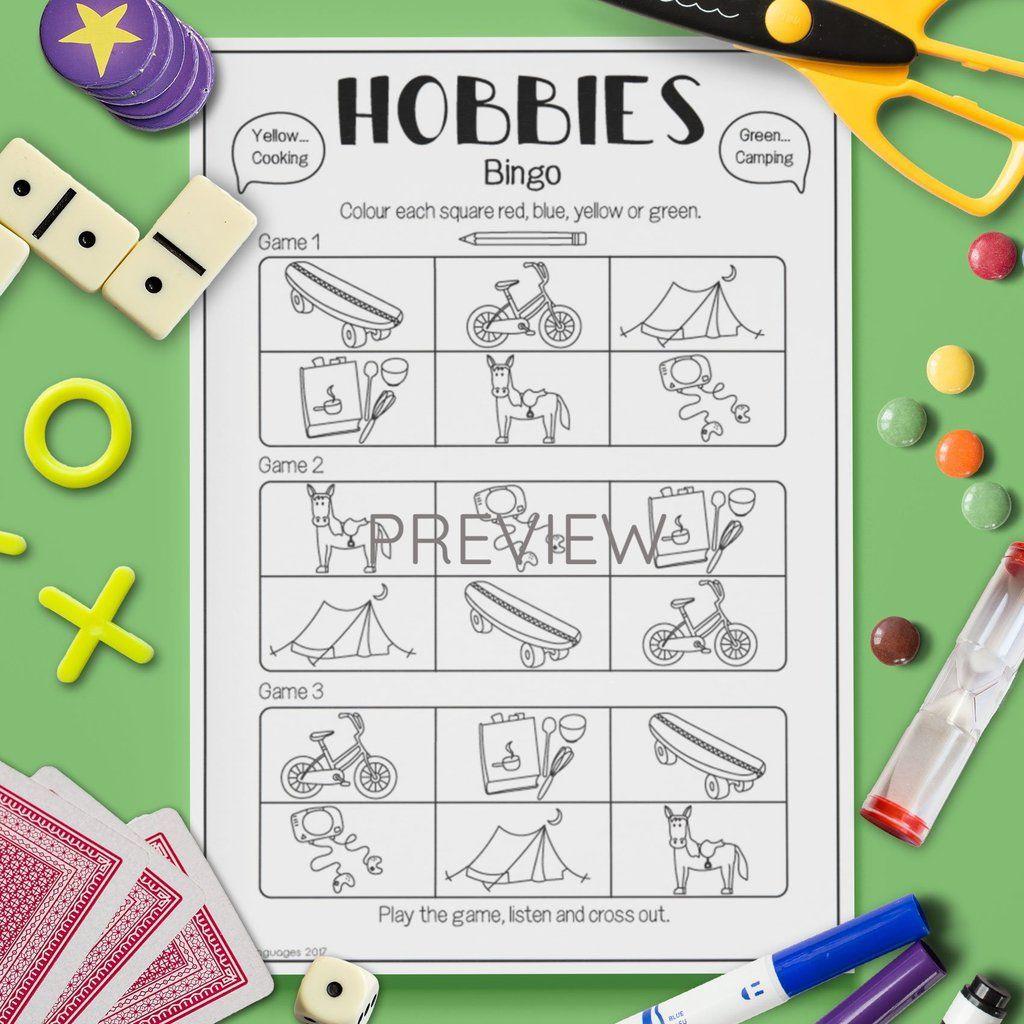 Hobbies Bingo Game