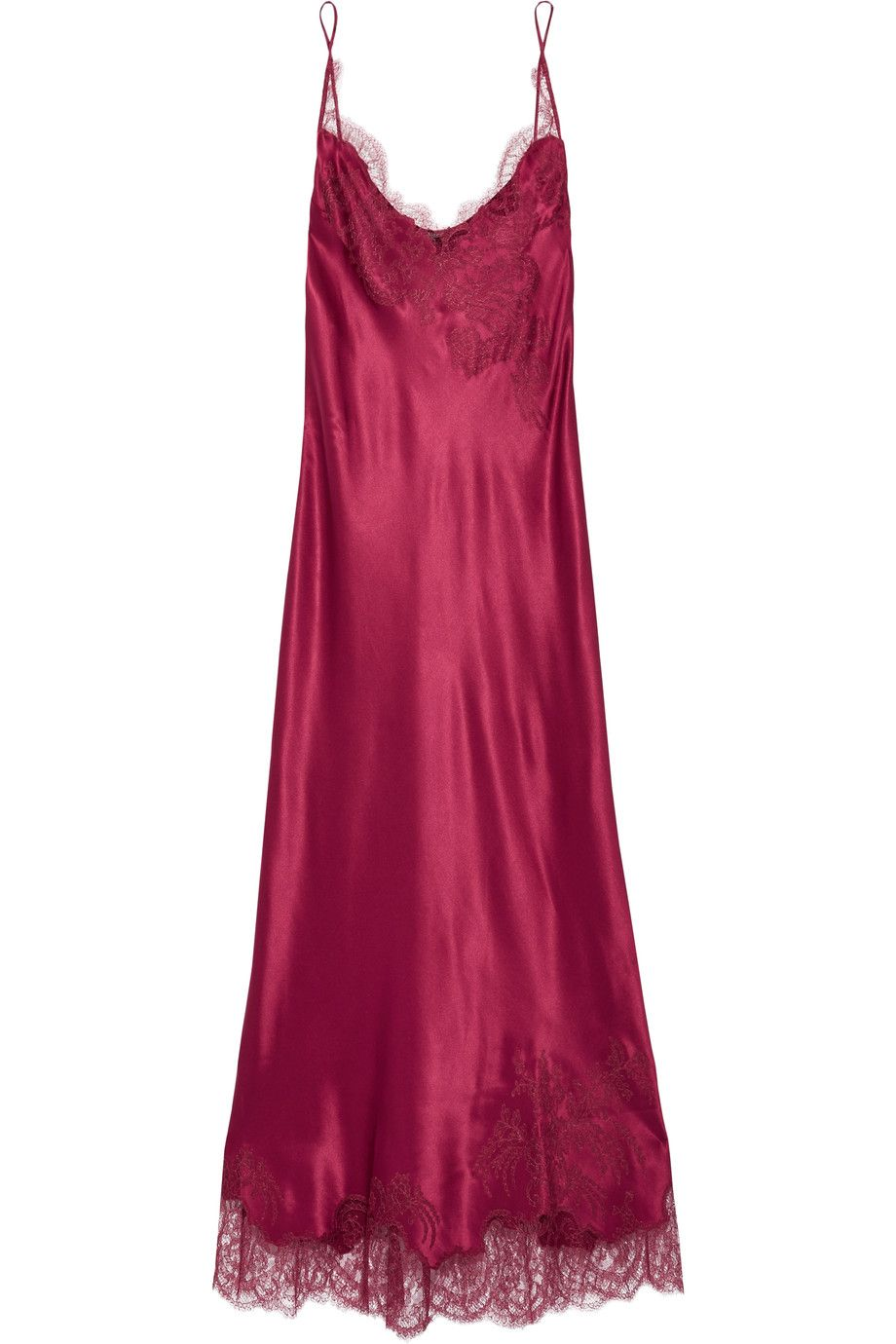 """Carine Gilson is inspired by """"Alice in a dreamlike quest"""" for Fall '16. This nightdress has been handcrafted in the label's Brussels atelier using the designer's favorite fabrics - lustrous silk-satin and delicate lace. We especially love the rich burgundy hue."""