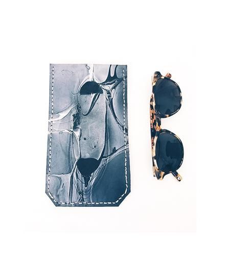 Hand-Dyed Marbled Leather Sunglasses Case