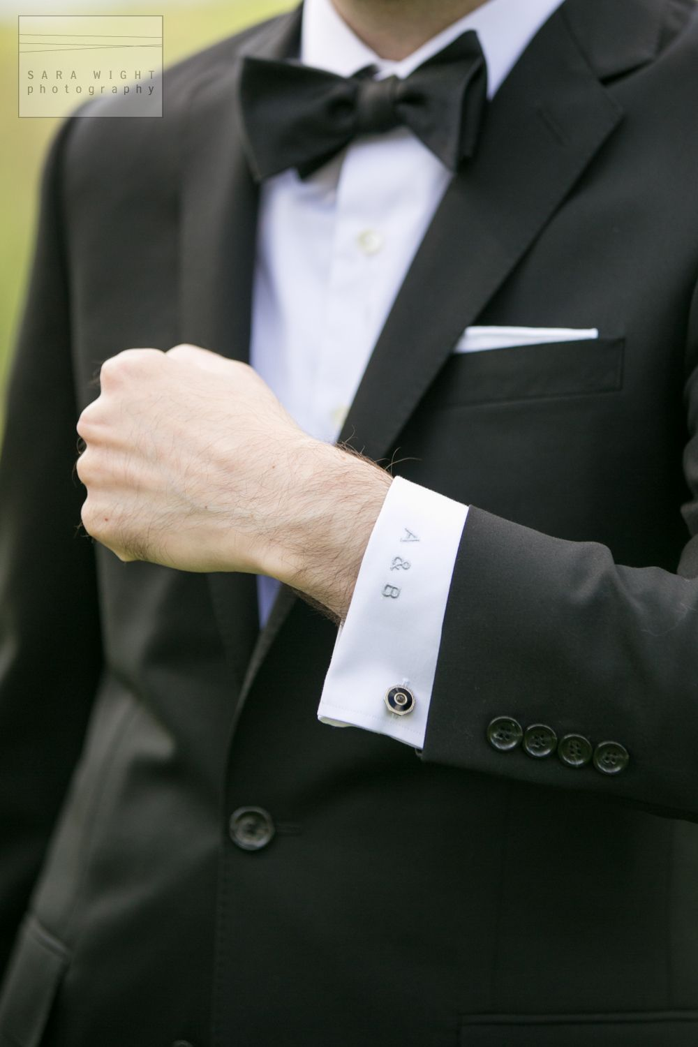Monogrammed Initials on Groom's Shirt Cuff - Sara Wight Photography