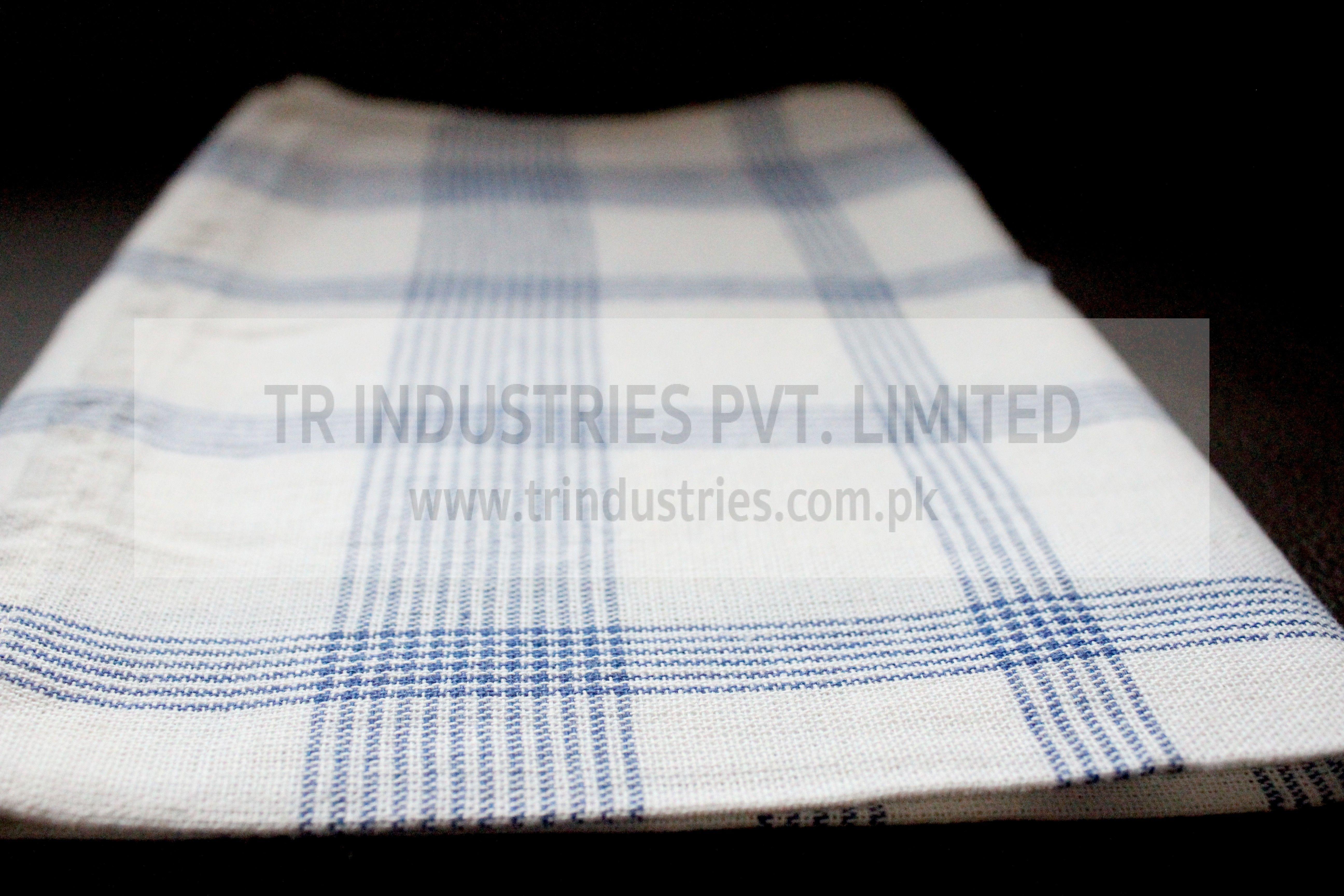 100% Cotton Yarn Dyed Kitchen Towel Big Check Blue White ...