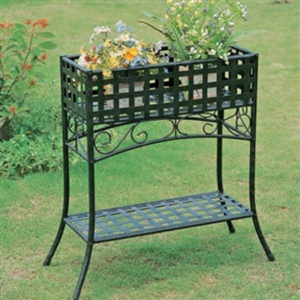 Elevated Rectangular Metal Planter Stand In Black Wrought Iron