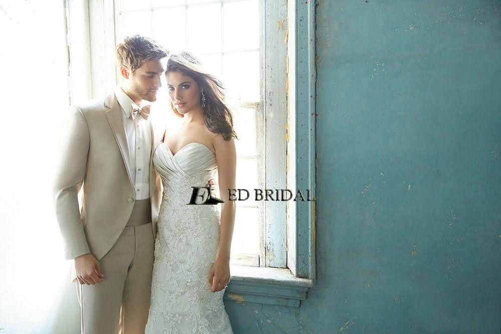 ED-YH2274 Vestidos de Novias Lace Appliqued Pleated Design Your Own ...