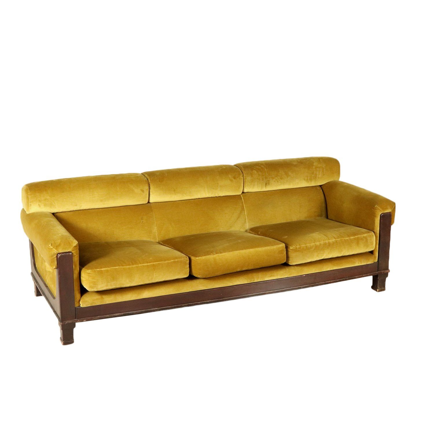 A Sofa Foam Padding Velvet Upholstery Stained Wood On Sight Structure Manufactured In Italy 1960s Interior Modern Sofa Designs Vintage Sofa Staining Wood