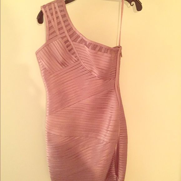 BGBGMAXAZRIA dress Beautiful, light purple, one shoulder bandage dress. In excellent condition only worn for a few hours BCBGMaxAzria Dresses One Shoulder