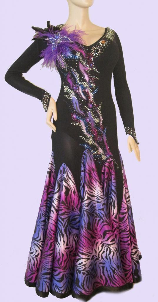 Black and purple standard ballroom dress by DL Wear $499.99