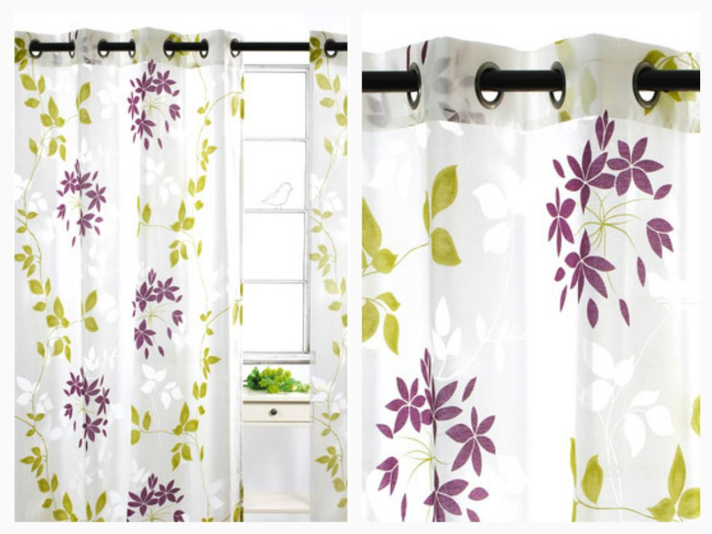 """Let the right amount of light shine in with Dreamscape curtains.   Grommet top panels showcase a  burnout and leaf print in grey/red or chartreuse/purple.    Constructed of light weight sheer fabric, curtains will drape perfectly.   Set includes 2 grommet top curtains.  Each panel is 52""""x95"""" inches.  Dry cleaning recommended."""