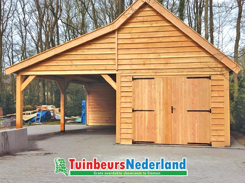 Luxe houtbouw schuur van lariks douglas hout praktisch door de