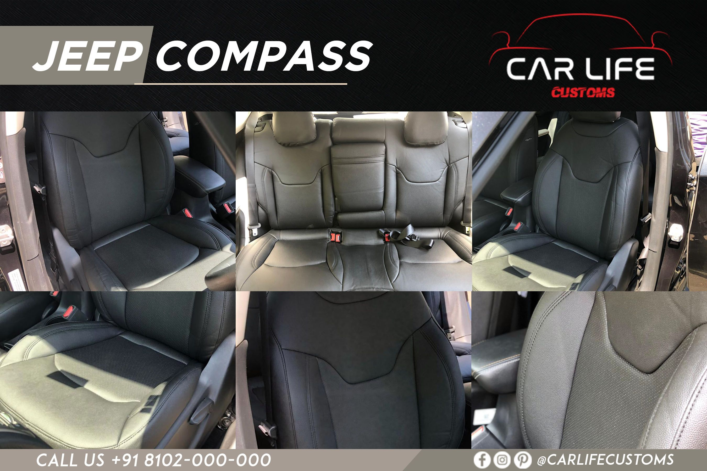 Jeep Compass Hovered In Perforated Seat Covers From Autoformindia In All Black Riviera Series Skin Fit Seat Covers And Prev Jeep Compass Car Compass Jeep