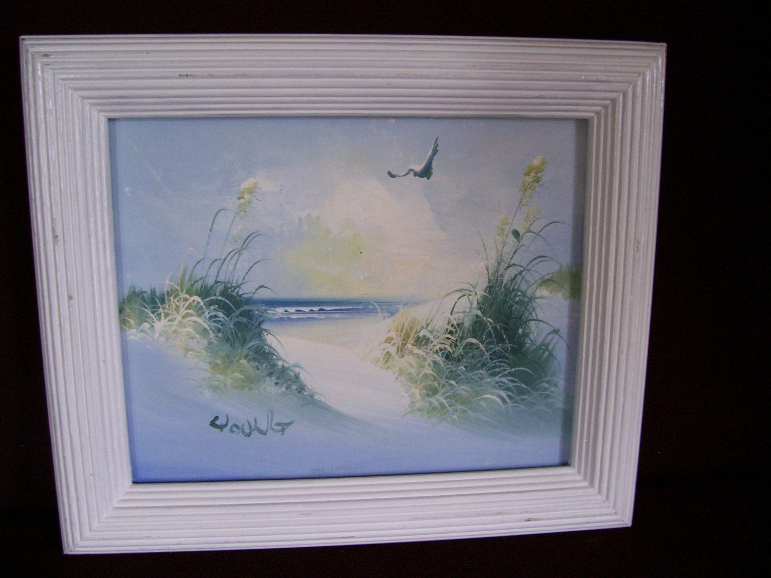 Vintage signed Oil Painting  REED and a Bird  13 x 10.5 framed by LIZ404 on Etsy
