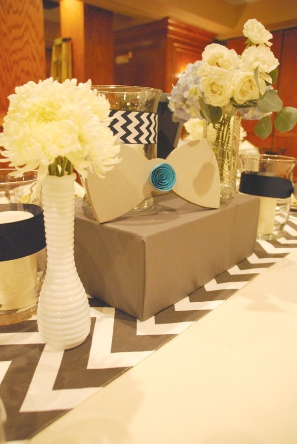 Event Design and Floral by Limani Designs www.limanidesigns.com #bowties #chevron #boyparty #babyboy #babyboybowtieparty #boybaptism #baptism #paperlanterns #hanginglanterns