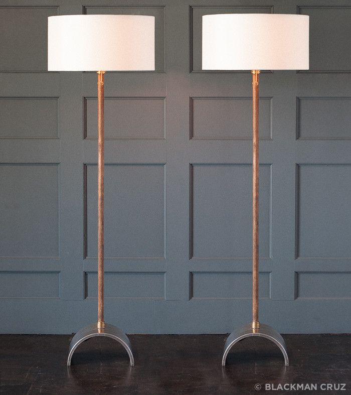 Pair of snake skin arching floor lamps by gianni vallino blackman cruz