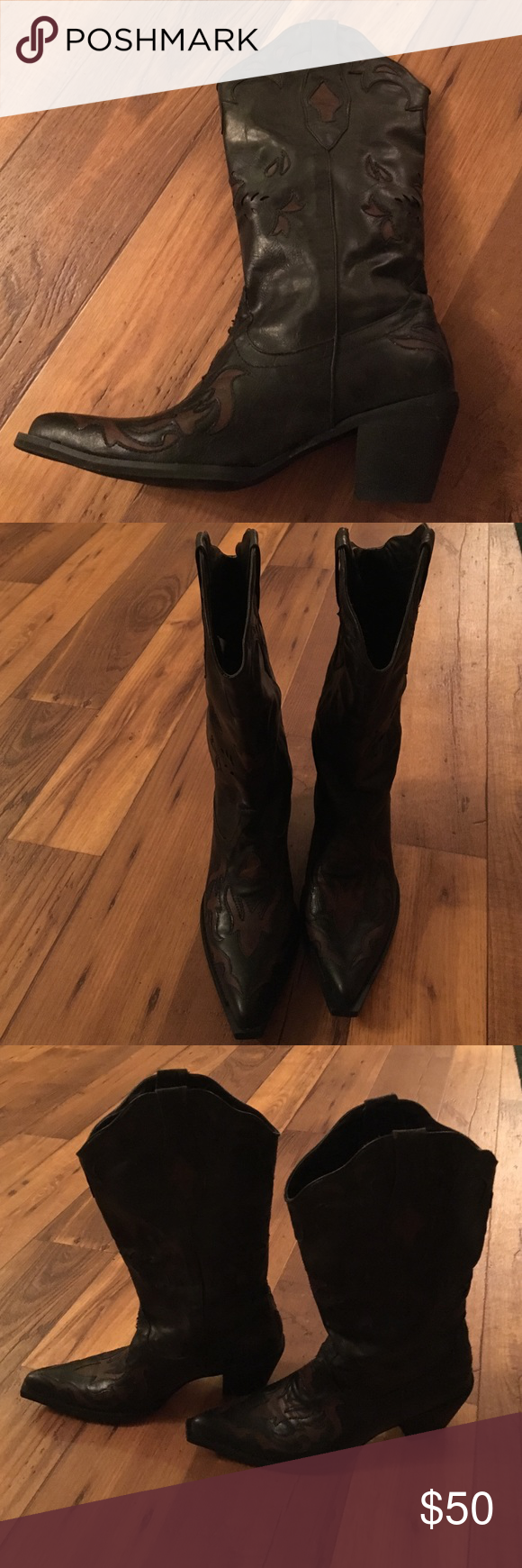 🐴COWBOY BOOTS🐴 These are lovely cowboy (or cowgirl😉) boots that are so stylish! Black with reddish-brown designs! Only worn a couple times, in perfect shape! Roper Shoes Heeled Boots