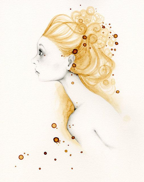 Pencil Drawing Illustration Giclee Archival Print of my Original Drawing Coffee Staining ohtteam