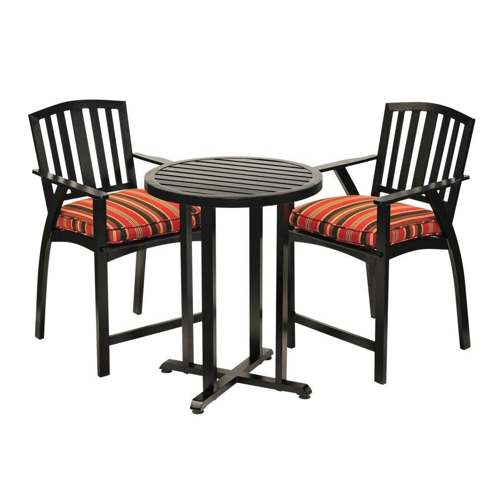 Sunjoy Avery 3 Piece Aluminum Patio Bistro Set With Black Striped