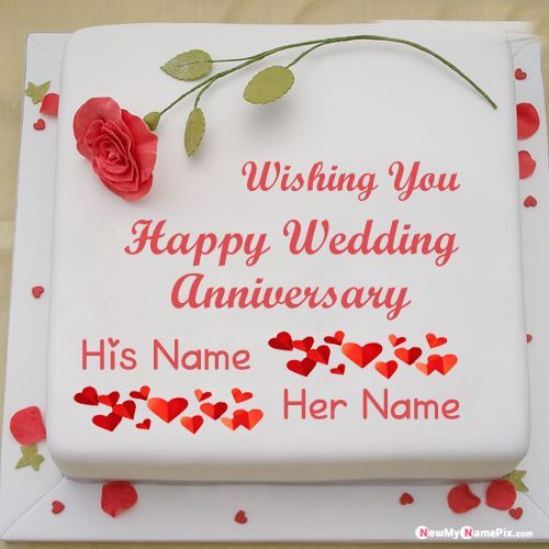 romantic wedding anniversary cake with couple name wishes