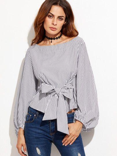 b1bcefad86b Модная полосатая блуза с бантом