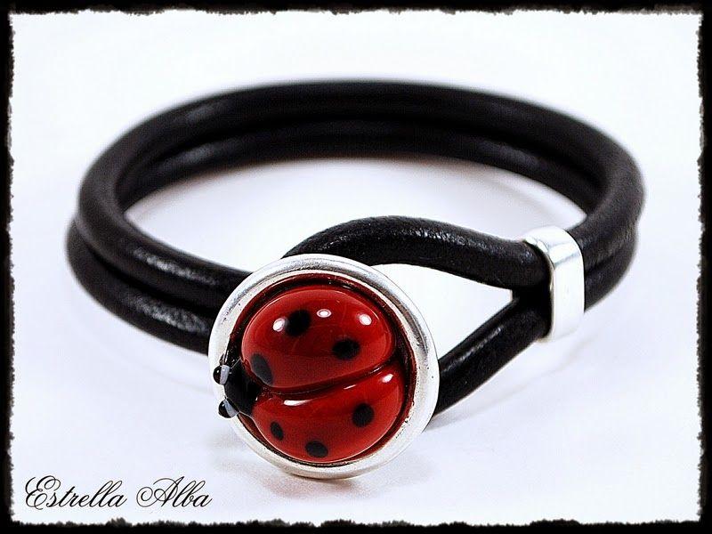 Cristal de Murano Ladybird//Ladybug pulsera con dijes