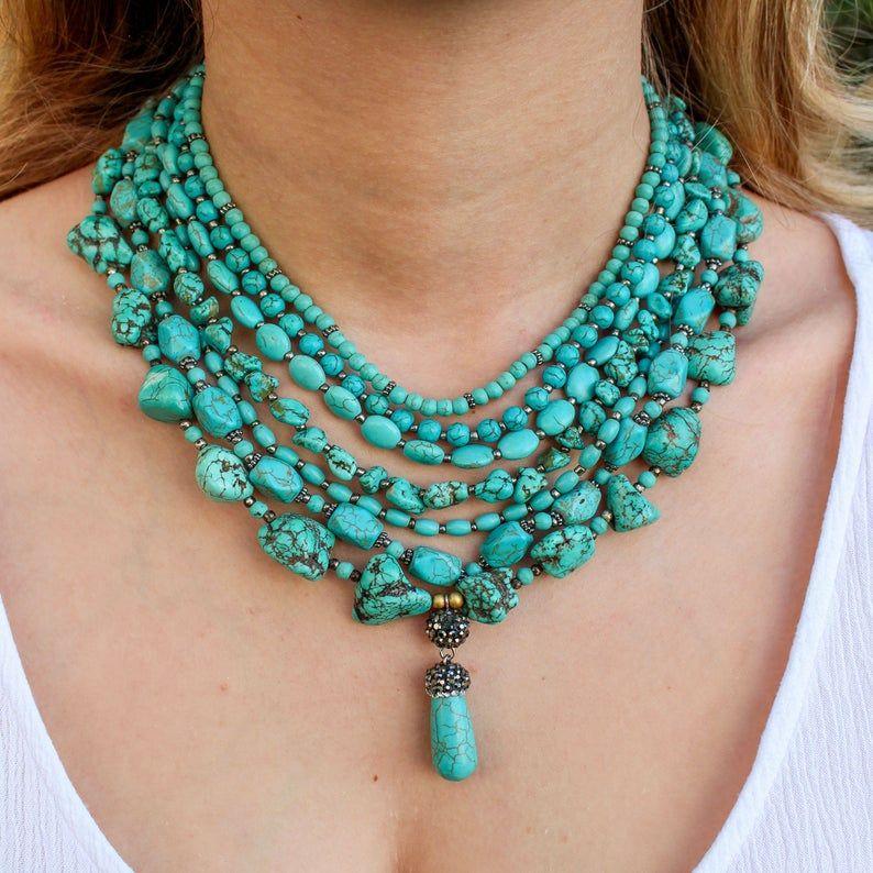 Turquoise Necklace Gemstones Necklace Beautiful Necklace Gemstones Necklace.Silk stones necklace Multi Colour Necklace Summer Necklace