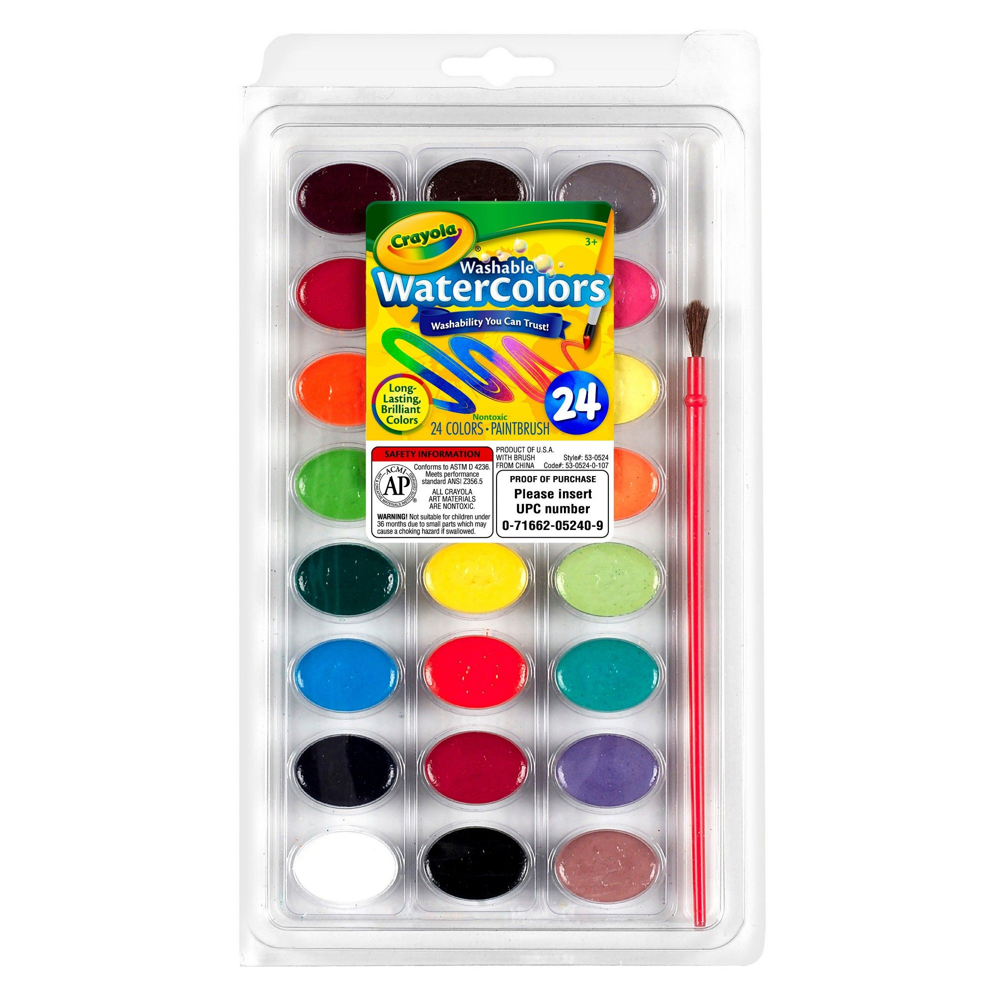 Crayola Watercolor Paints With Brush Washable 24ct Crayola