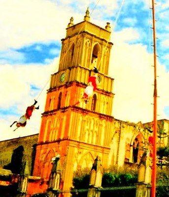 Voladares of Papantla performing for the Fiesta de San Miguel - Mexico
