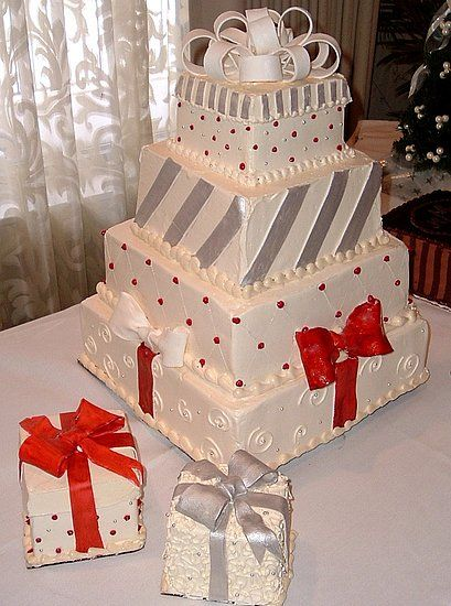 I Like The Idea Of Having It Dressed Up As A Gift And Then Having - Present Wedding Cake