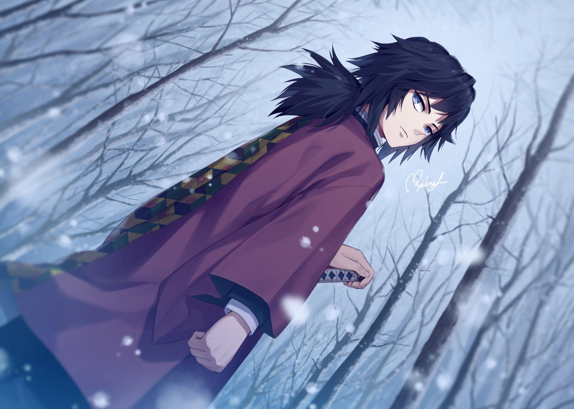 Anime Demon Slayer Kimetsu No Yaiba Giyuu Tomioka 1080p Wallpaper Hdwallpaper Desktop Slayer Anime Cool Anime Wallpapers Hd Anime Wallpapers