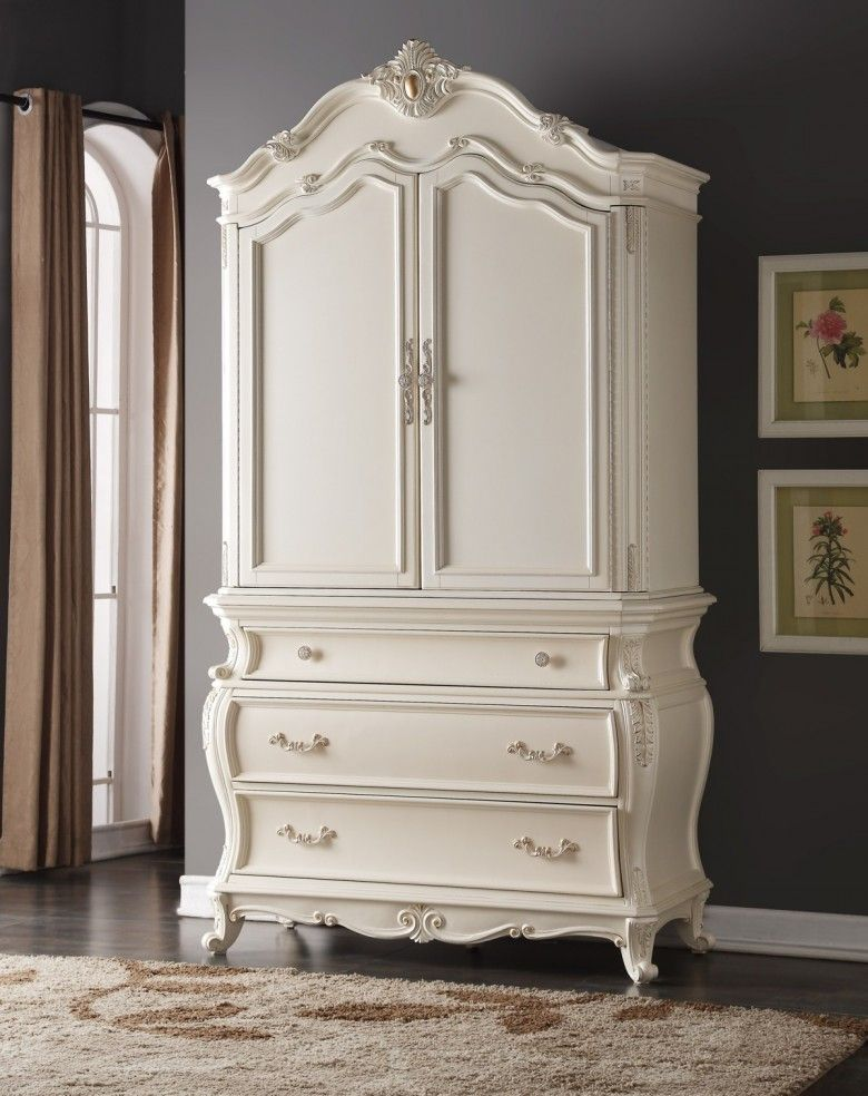 Best Meridian Marquee Armoire In Pearl White White Armoire Meridian Furniture Armoire 400 x 300