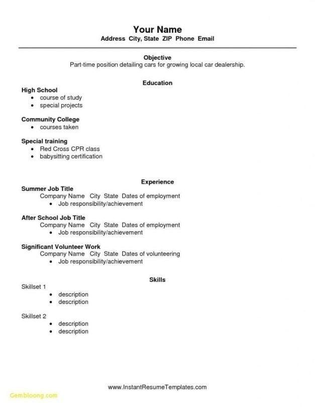 Resume Basic Resume Template No Work Experience Photo