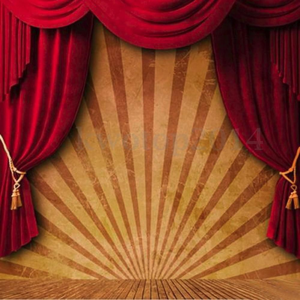 10x10ft Circus Red Curtain Stage Photography Backdrop Background
